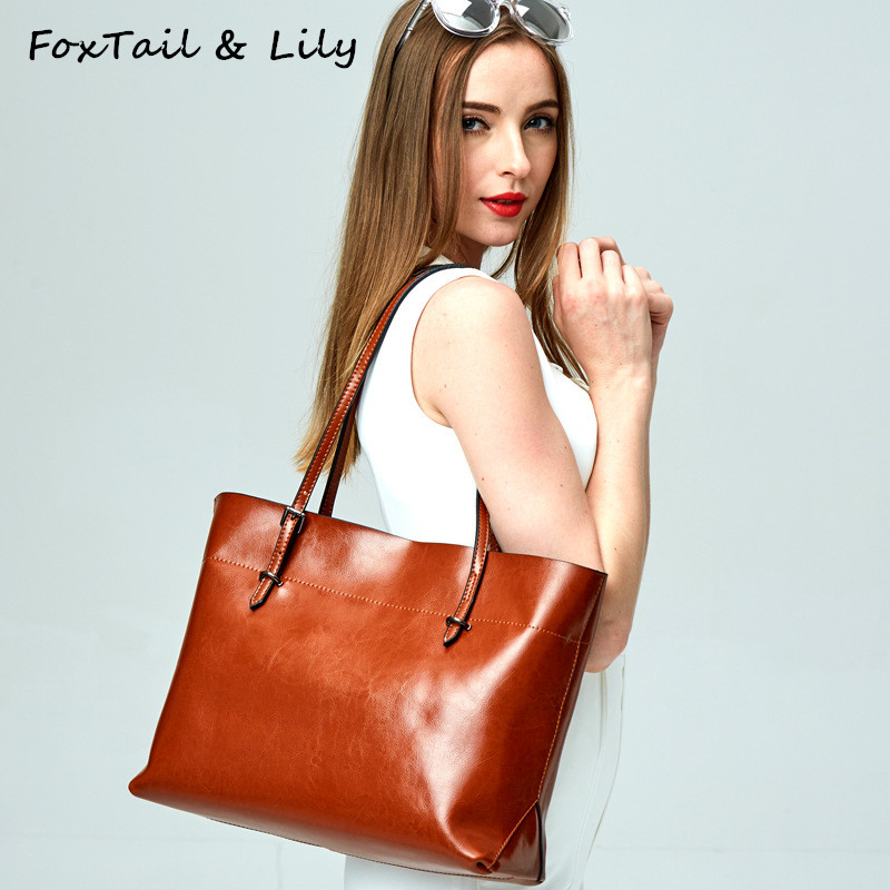 FoxTail & Lily Genuine Leather Tote Shoulder Bag Women Luxury Handbags Famous Designer Large Capacity Practical Shopping Bags chispaulo women genuine leather handbags cowhide patent famous brands designer handbags high quality tote bag bolsa tassel c165