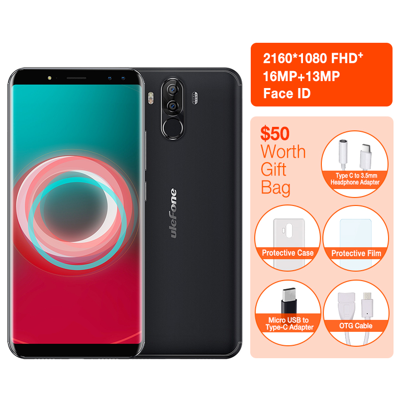 "Ulefone Power 3S Face ID 6.0"" 18:9 Display 4GB RAM 6350mAh Mobile Phone MTK6763 Octa Core 64GB ROM Android 7.1 OTG Smartphone"