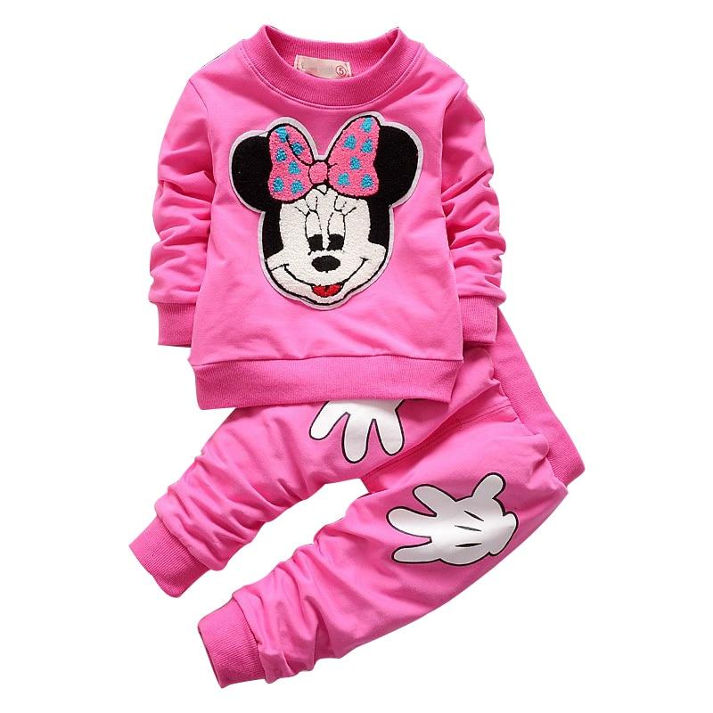Brave 2018 New Spring & Autumn Girls Clothes Sets T-shirt Mother & Kids Pants 2pcs/set Full Sleeve Minnie Clothing Children Suits Cotton Kids Wear