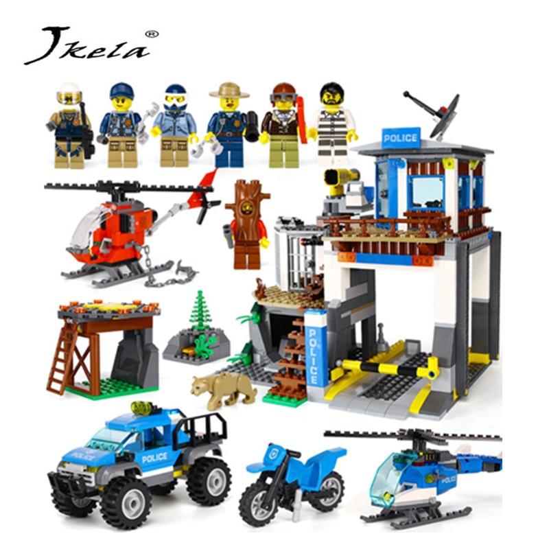 [Jkela] 742Pcs City Series The Mountain Police Headquater Set Building Blocks Bricks Fit For LegoINGLYToys Model As Gifts
