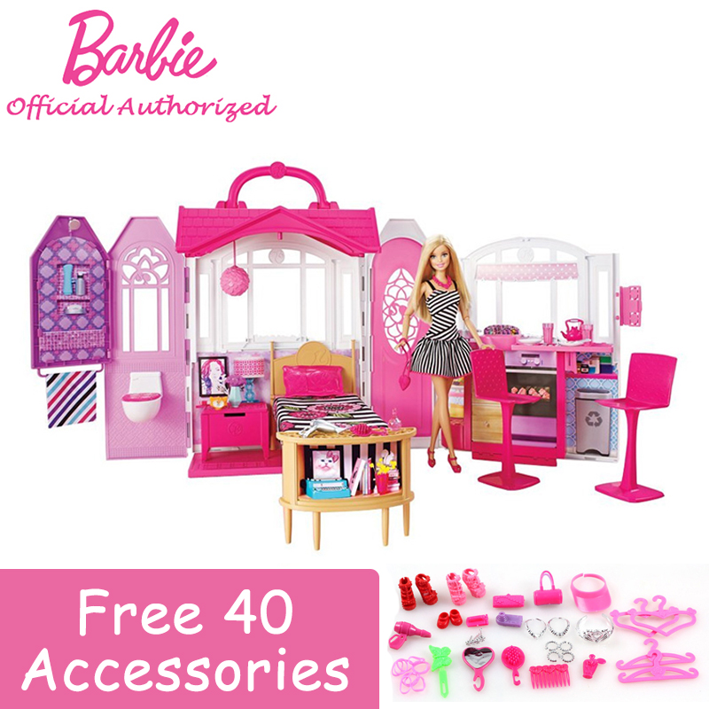 2016 Newest Advertising Mode Vacation House Barbie Holiday Fashion Toy Barbie Boneca Set Mode CFB65