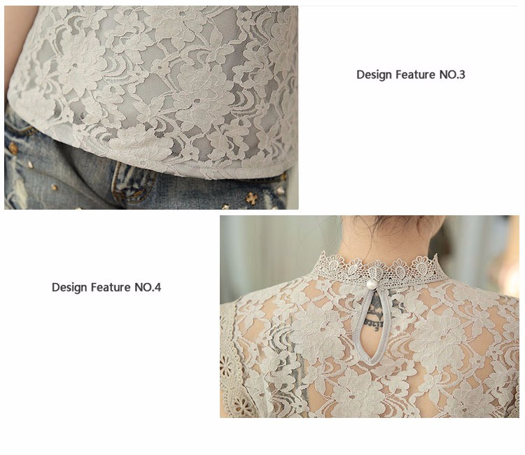 f1dd42ceb7238a ... Summer Ladies Tops Sexy Plus Size White Gray Lace Blouse Top Crochet  Sleeveless Stand Neck Casual