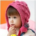 Free Shipping 2013 fashion child winter trapper hat female baby crochet hat with 2pcs pigtail cute pom-poms winter knitted hat
