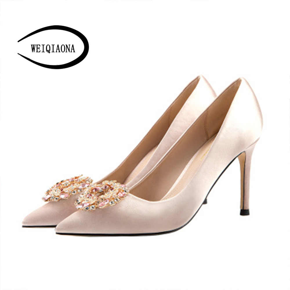 c2cf5fa86 WEIQIAONA 2019 New Slik Big Size 33-41 Luxury Crystal Brand Design Women  Shoes Pointed