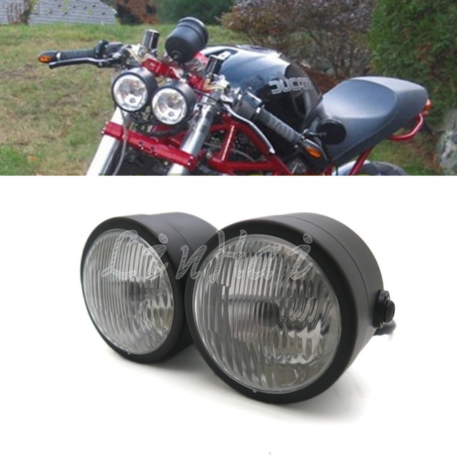 Black Twin Headlight Motorcycle Double Dual Lamp Street -7243