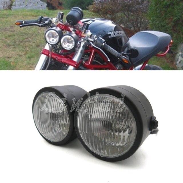 Black Twin Headlight Motorcycle Double Dual Lamp Street -7243