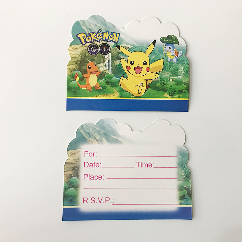 10pcs pokemon theme party paper invitation card birthday party 10pcs pokemon theme party paper invitation card birthday party decorations kids emoji poppy baby shower supplies party favors in cards invitations from stopboris Image collections
