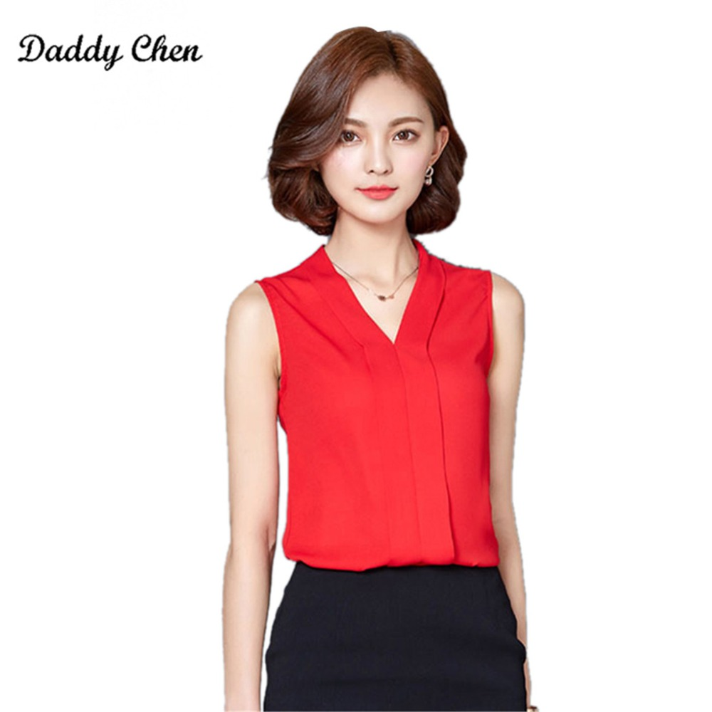 0de192101a4d49 2017 New Chiffon Blusas Summer Casual Sexy Blouse Women V Neck Tops  Sleeveless Red Shirt Ladies Solid Blouses For Women G735