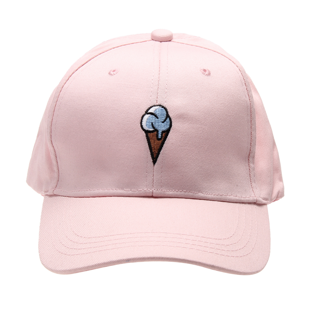 2017 New Cotton Hat Ice Cream Embroidered Baseball Cap for Men and Women Sun Hat Snapback Caps Outdoors Cotton Can chic ice cream color suede baseball hat