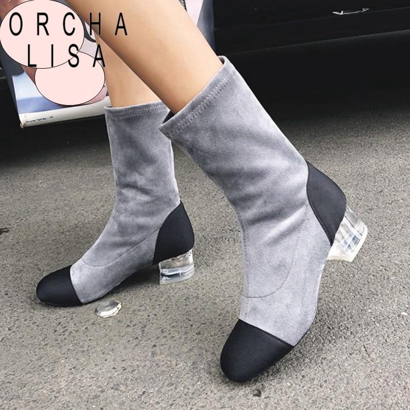 Mujer Tacón Geniune Corto Botas C892 Con suade Las Orcha Zapatos  Transparente Mediados suade 2018 Leather ... 3b3f3e1e8f2a7