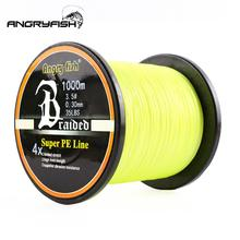 Wear-resistant 1000m/1093yds 4braid Solid Color Braided Fish Line - Yellow
