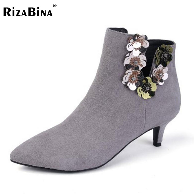 RizaBina Women Real Leather Ankel High Heel Boots Flower Beading Thin Heels Boots Autumn Short Botas Women Footwears Size 33-40