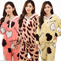 Camisas y Pantalones de Las Mujeres Calientes juegos de los Pijamas ropa de Noche fija Pie Casa Diseño Homewear Pijamas de Terciopelo de Coral Femenina de Invierno Flannet