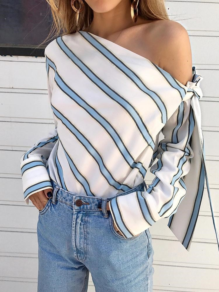 7f2ff27ef126d Women s Fashion One Shoulder Blouse Tops Striped Casual Long Sleeve Blouse  Lady Autumn Stripe Shirt Top