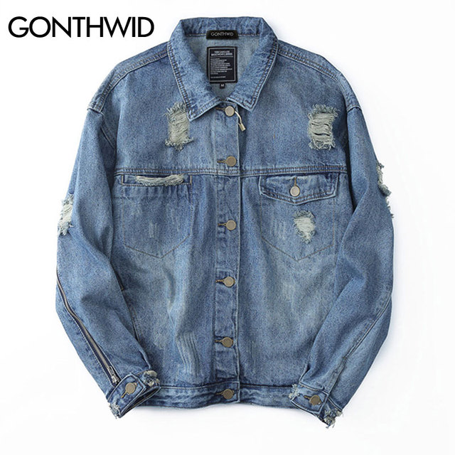 8b1dc6a2bbe7 GONTHWID Ripped Oversized Denim Jacket Mens 2017 Vinage Distressed Destroyed  Zipper Sleeve Denim Jackets Hip Hop