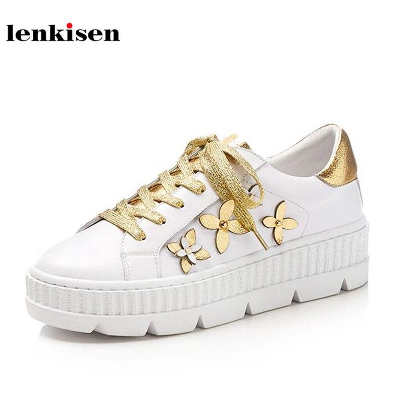 Здесь продается  Lenkisen cow leather round toe lace up mixed colors sneaker cozy shoes thick bottom appliques flowers women vulcanized shoes L21  Обувь