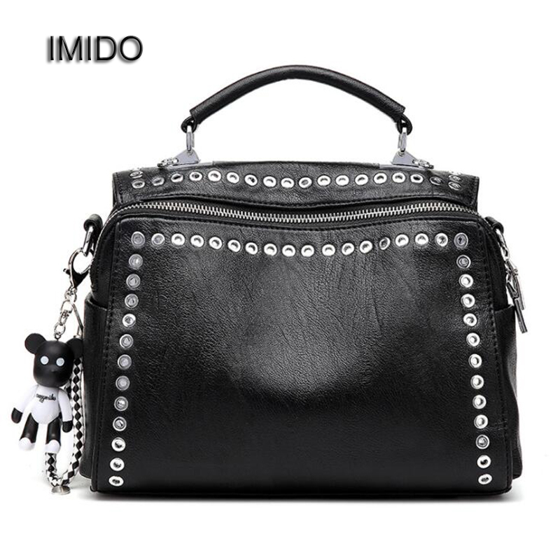 IMIDO Brand Fashion Female Shoulder Bag Washed Leather Women Handbag Messenger Bag Motorcycle Crossbody Bags Two