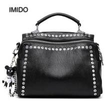 IMIDO Brand Fashion Female Shoulder Bag Washed Leather Women Handbag Messenger Bag Motorcycle Crossbody Bags Two Straps HDG053