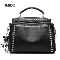 IMIDO Brand Fashion Female Shoulder Bag Washed Leather Women Handbag Messenger Bag Motorcycle Crossbody Bags Two Straps HDG053