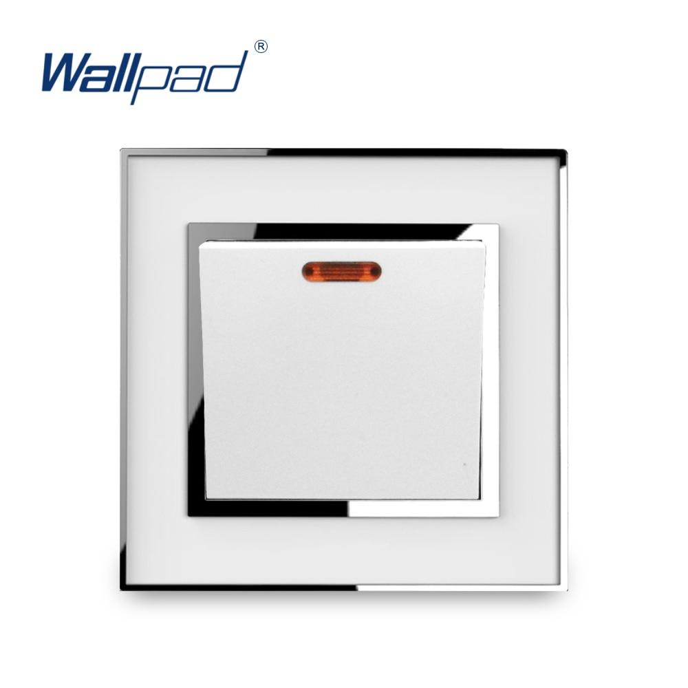 цена на 20A Water Heater Switch Wallpad Luxury Wall Light Switches White Acrylic Panel Silver Border CE