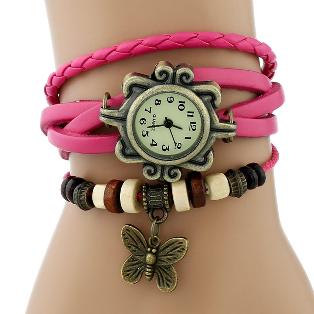 Gnova Platinum TOP Classic GENUINE Leather Bracelet Watch Bronze BUTTERFLY Charm
