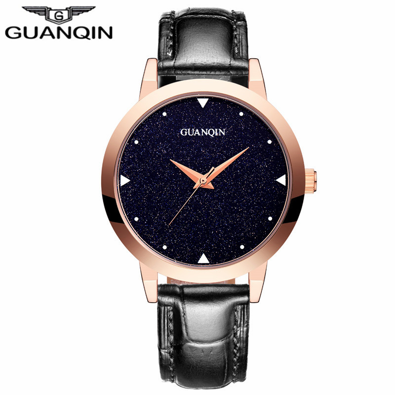ФОТО GUANQIN GS19051 Women Watches 2017 New Quartz Watches for Ladies Waterproof Wristwatch with Black Sky Dial and Leather Watchband