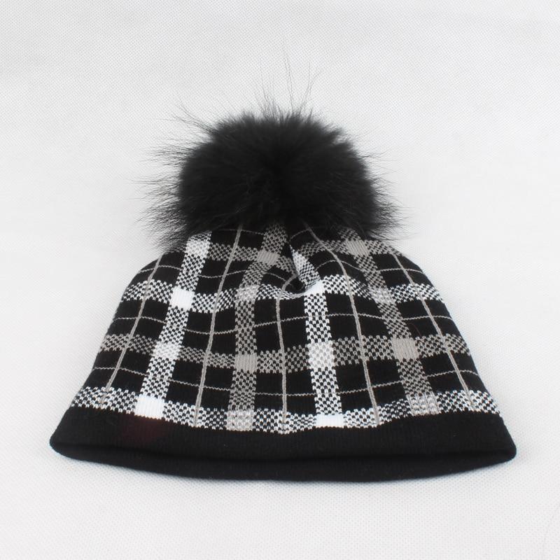 Qadın Qış Şapka Plaid Trikotajlı Beanie Həqiqi Mink Xurma - Geyim aksesuarları - Fotoqrafiya 5