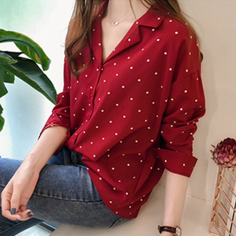 Spring Autumn Chiffon Women Blouse Long Sleeve Polka Dot Women's Tops and Blouses Ladies Tops Casual Office Female Clothes