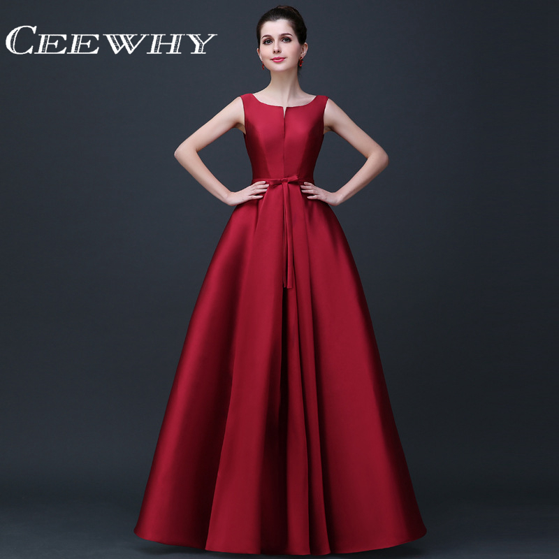 CEEWHY Sleeveless Satin   Dress   Elegant   Evening     Dresses   Long A-line Prom Formal Party   Dresses   Vestido de Festa Abendkleider