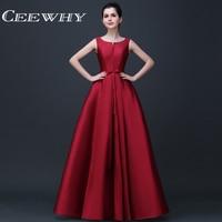 CEEWHY Sleeveless Satin Dress Elegant Evening Dresses Long A line Prom Formal Party Dresses Vestido de Festa Abendkleider