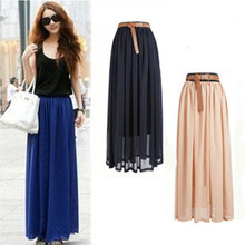 Spring and summer in Europe long chiffon skirt mopping double elastic waist Pleated Chiffon  Skirt Beach