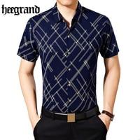 HEE GRAND 2017 Fashion Geometric Striped Men Shirt Turn Down Collar Short Sleeve Male Casual Shirts