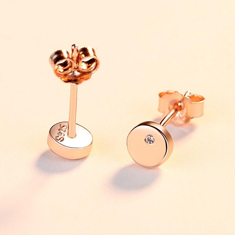 אפין פשוט אופנה עגול Stud עגילי זהב צבע אמיתי 925 סטרלינג תכשיטי כסף לבן זירקון עגילים לנשים חתונה