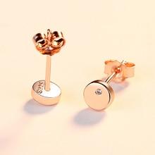 BAFFIN Simple Fashion Round Stud Earrings Gold Color Real 925 Sterling Silver Jewelry White Zircon Earrings For Women Wedding ruifan horse eye black zircon stud earrings for women 14k gold real 925 sterling silver earrings stone party jewelry yea112