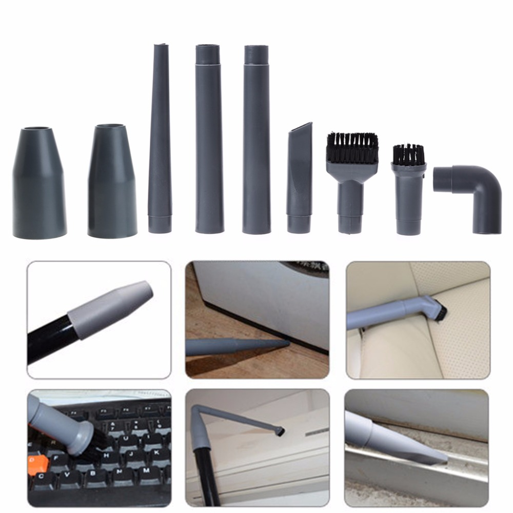 HM PARTS 9Pcs/Set Universal Vacuum Cleaner Accessories Multifunctional Corner Brush Set Plastic Nozzle