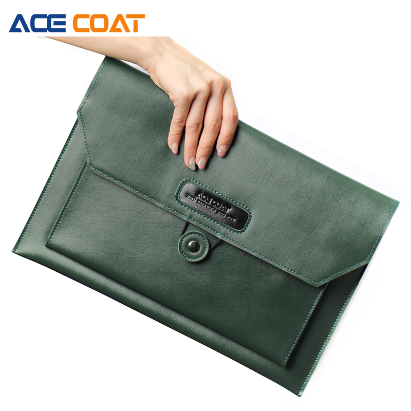 ACECOAT Split Leath Laptop Sleeve Case Bag with Handle & Pockets for MacBook Air/Pro 13 Retina 13.3 Inch Clutch bag(China)