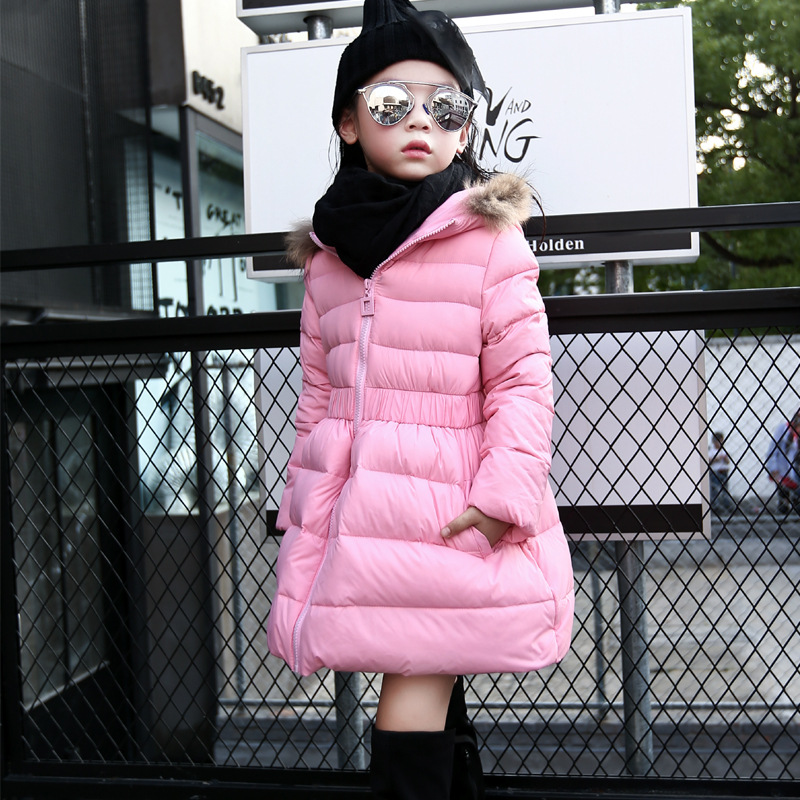 ФОТО Girls Thick Long Down Jacket 2016 New Winter New Children Long Sections Warm Coat Clothing Boys Hooded Down Outerwear