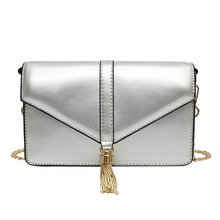 2019New Fashion Silver PU leather Women Chains Clutch Handbag Female tassel messenger bag  Lady envelope crossbody shoulder bags 2018 women messenger bags pu leather personality jacket rivets chains lady handbag flap shoulder golden silver zipper bag party
