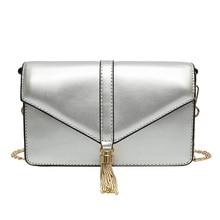 2019New Fashion Silver PU leather Women Chains Clutch Handbag Female tassel messenger bag  Lady envelope crossbody shoulder bags