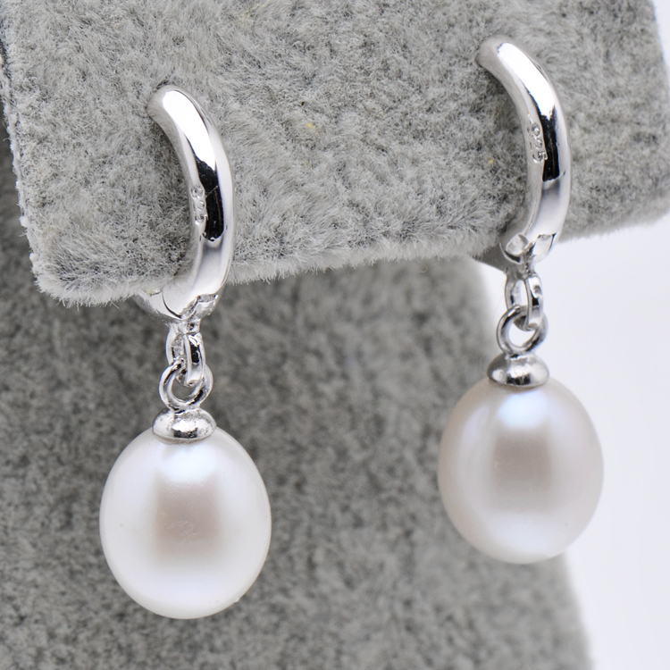 Feige Brand Pearls 925 Sterling Silver Hoop Earrings For Women 8 9mm Rice Shaped Natural Freshwater Pearl In From Jewelry