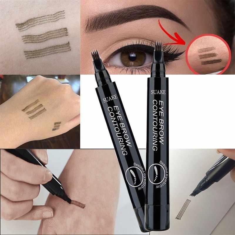 4 Warna 3D Microblading Pena Tato Alis 4 Garpu Tips Baik Sketsa Cair Pensil Alis Tahan Air Alis Warna Makeup TSLM2