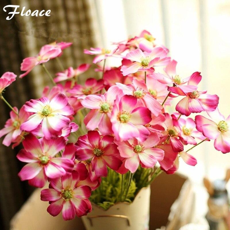웨딩 홈 장식 중앙 장식 꽃 파티를위한 플로어 11pcs / lot 인공 꽃 가짜 Cosmoses 실크 실크 꽃