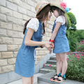 2015 summer style matching mother daughter clothes Dot lace sleeve denim dress Family look Matching Outfits