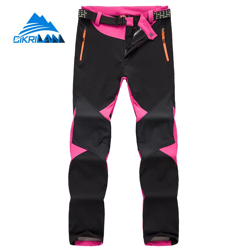 Ladies Winter Warm Fleece Lined Outdoor Hiking Trekking Softshell Pants Women Water Resistant Sport Climbing Camping Trousers