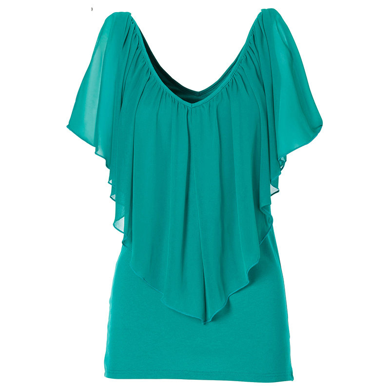 Plus Size XXL New Women Casual Chiffon Ruffled Blouse Sexy Deep V Neck Shirts Ladies Fashion