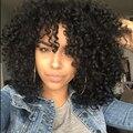 Peruca sintética Mulheres Penteado Afro Perucas para As Mulheres Negras Longo Kinky Curly Peruca de Cabelo Sintético Peruca Preta Natural Barato