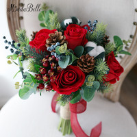 modabelle Rose Wedding Bouquets Bride Artificial Flowers Berry Holly Stocking Christmas Decoration 2018 New Year Bridal Bouquet