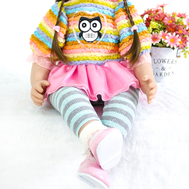 60cm Silicone Reborn Baby Doll Toys Like Real 24inch Vinyl Exquisite Princess Toddler Alive Bebe Girl