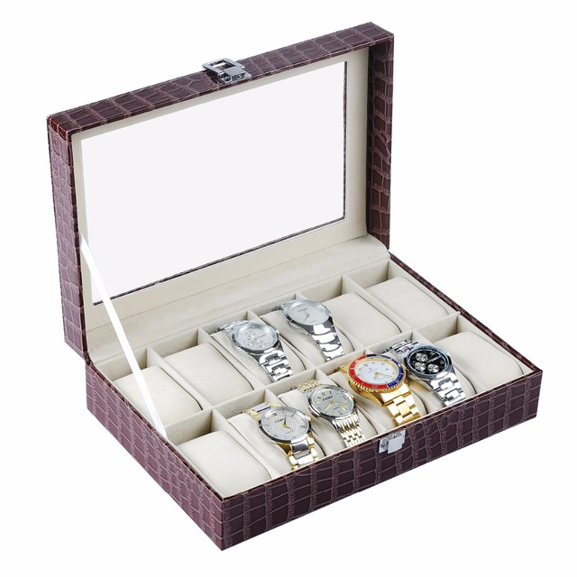 2017 New Watch Box Case PU Leather 12 Slots Wristwatch Display Box