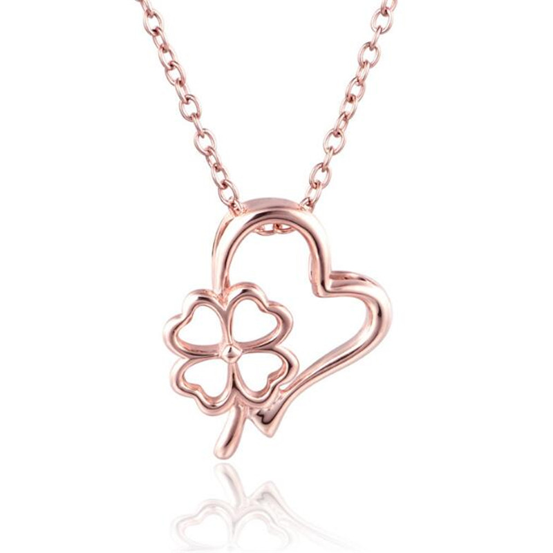 100% 18K Gold New Clover Heart Necklace Pendant Four Leaf Clover Jewelry Women Heart Necklace Accessory Romantic Gifts trendy four leaf clover shape pendant necklace for women